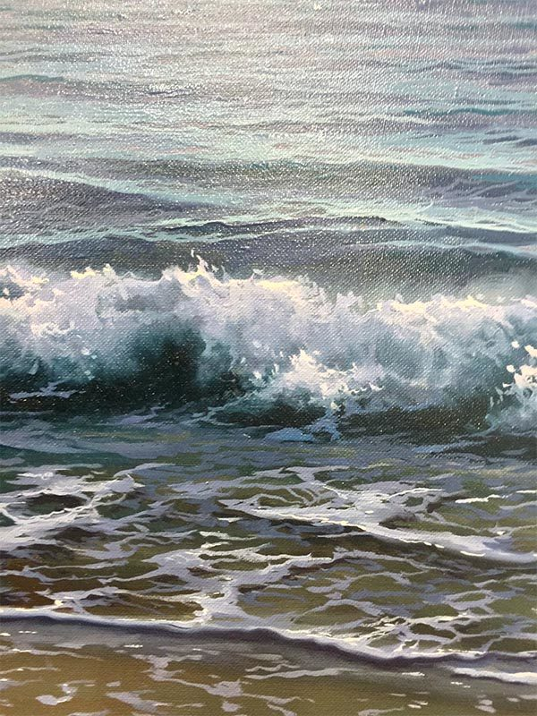 Glowing Clouds Over Waves by Antonio Soler, Detail
