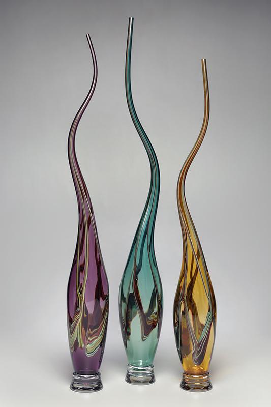 Swan Vessels in Amethyst, Verde, Strega