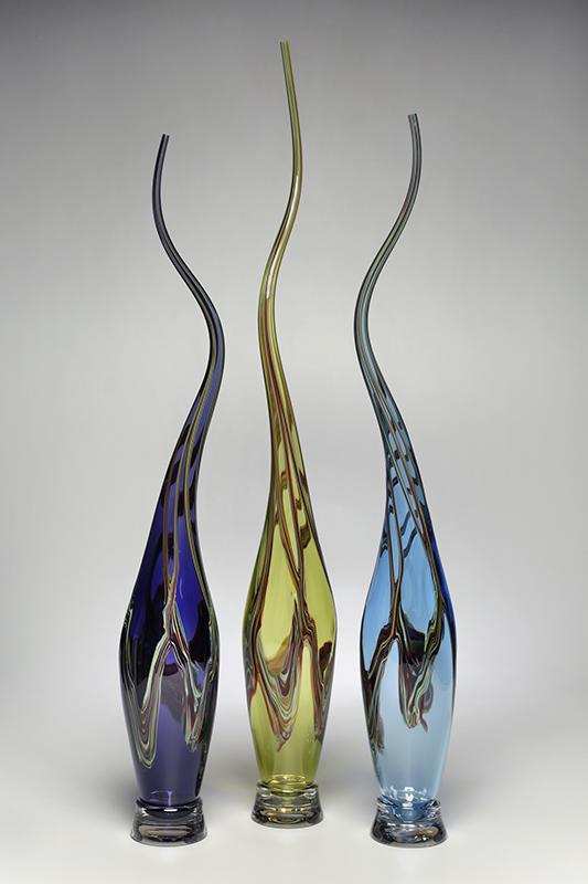 Swan Vessels in Midnight Blue, Lime, Aqua