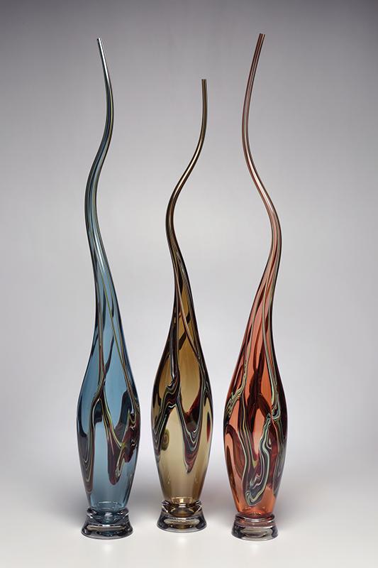 Swan Vessels in Steel Blue, Whiskey, Tangerine