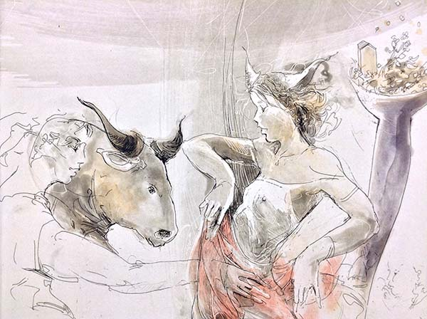 Taurus - Hand-Colored Etching, Detail