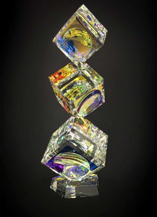 3 Tumbling Cyrstal Cubes on Base by Harold Lustig