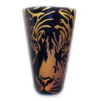 Amber and Black Tiger Face Vase 8602 Correia Glass