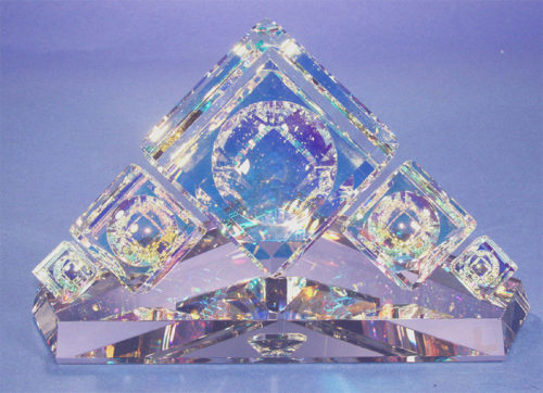 "Crystal Cube Pyramid Centerpiece by Harold Lustig at Art Leaders Gallery, voted ""Michigan's Best Fine Art Gallery"" is located in the heart of West Bloomfield. This full service fine art gallery is the destination for all your art and custom picture framing needs. Our extensive inventory of art includes styles ranging from contemporary to traditional. The gallery represents international, national, and emerging new talent as well as local Michigan artists."