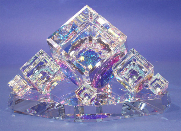 """Large Crystal Cube Centerpiece by Harold Lustig at Art Leaders Gallery, voted """"Michigan's Best Fine Art Gallery"""" is located in the heart of West Bloomfield. This full service fine art gallery is the destination for all your art and custom picture framing needs. Our extensive inventory of art includes styles ranging from contemporary to traditional. The gallery represents international, national, and emerging new talent as well as local Michigan artists."""