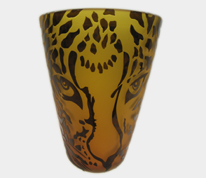 Amber and Black Leopard Face Vase 8589 Correia Glass