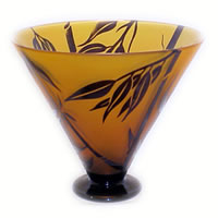 Amber and Black Bamboo Bowl 8586 Correia Glass