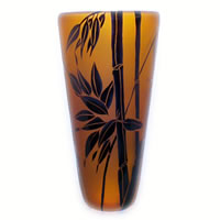Amber and Black Bamboo Vase 8562 Correia Glass