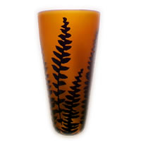 Amber and Black Fern 8581 Correia Glass