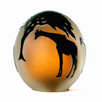 Amber and Black Giraffes Paperweight 8543 Correia Glass