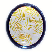 Amber Palm Leaves Bowl 8540 Correia Glass