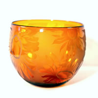 Amber Sunflowers Bowl 8631 Correia Glass