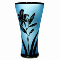 Aqua and Black Lilly Vase 8622 Correia Glass