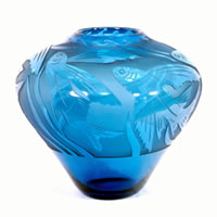 Aqua Flying Fish Vase 8568 Correia Glass