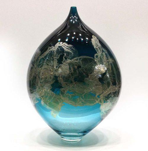 Atlas Vase in Teal, Front