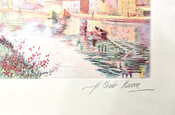 H. Claude Pissarro - Auxerre Cathedral River Bank, Signature