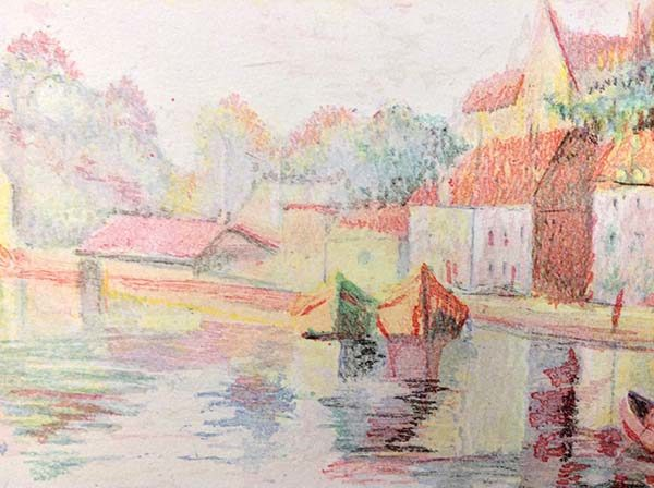 H. Claude Pissarro - Auxerre Cathedral River Bank, Detail