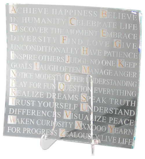 ABCs of Life Square Platter by Stephen Schlanser at Art Leaders Gallery - Michigan's Finest Art Gallery