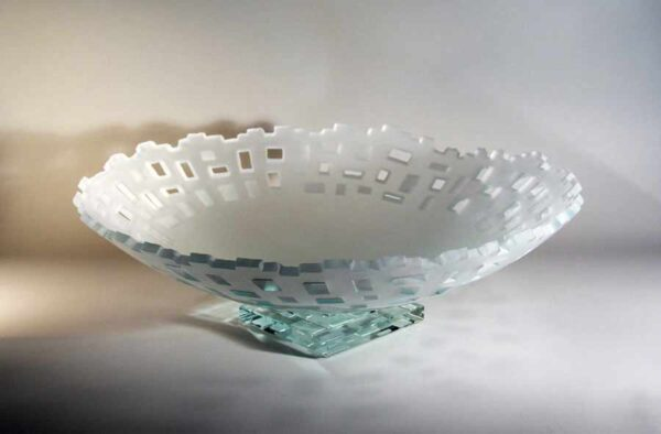 Frosted Edge Bowl with pattern