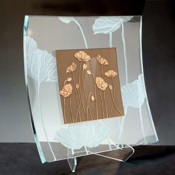 Poppy Fields Square Platter by Stephen Schlanser at Art Leaders Gallery - Michigan's Finest Art Gallery