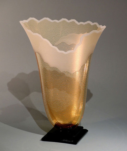Scapes Gold Oval Vase by Stephen Schlanser at Art Leaders Gallery - Michigan's Finest Art Gallery