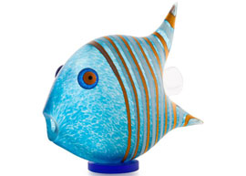 Angel Fish Paperweight (medium): 24-04-05 in Light Blue by Borowski Glass Studio
