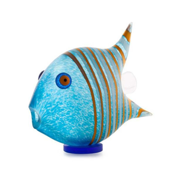 Angel Fish Paperweight (Small): 24-04-01 in Light Blue by Borowski Glass Studio