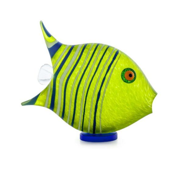 Angel Fish Paperweight (Small): 24-04-03 in Lime Green by Borowski Glass Studio
