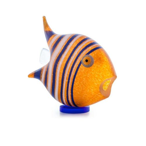 Angel Fish Paperweight (Small): 24-04-00 in Orange by Borowski Glass Studio
