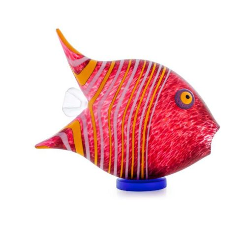 Angel Fish Paperweight (Large): 24-04-06 in Red by Borowski Glass Studio