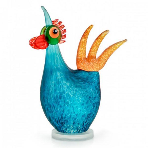 Blue Glass Chicken Sculpture