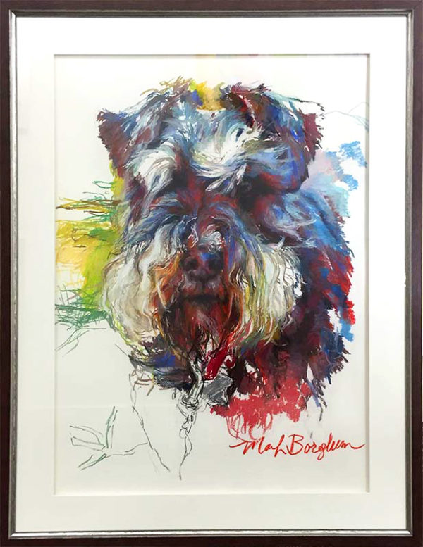 Schnauzer by Marilyn Borglum, Framed