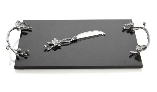 White Orchid Cheese Board with Knife - Large, Item #111801