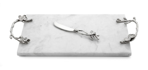 White Orchid Cheese Board with Knife, Item #111863