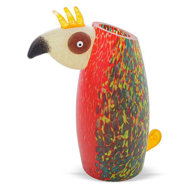 Red and Multicolor Glass Bird Vase