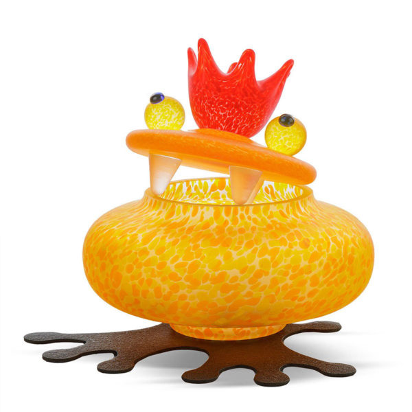 Orange Glass Frog Bowl