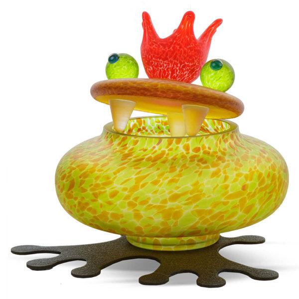Olive Glass Frog Bowl