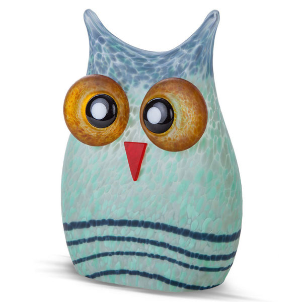 Blue and Teal Glass Owl