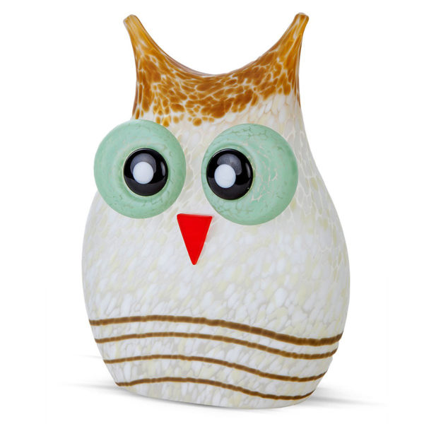 White and Tan Glass Owl
