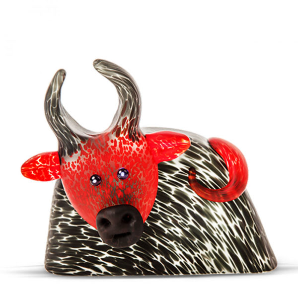 Black Red Glass Bull Paperweight