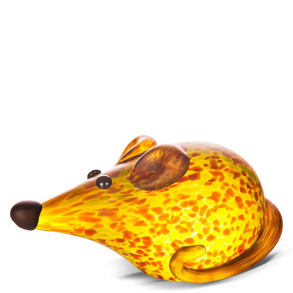 Amber Mouse Glass Paperweight