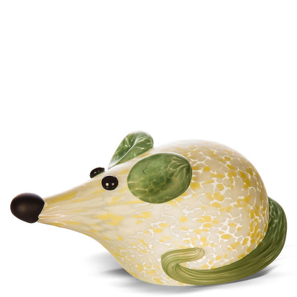 Green and White Mouse Glass Paperweight