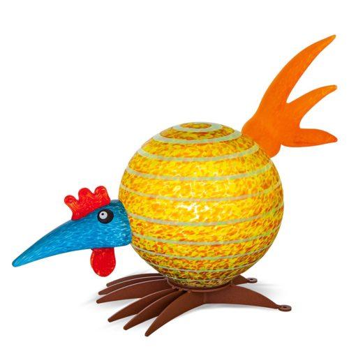 Yellow, Blue, and Orange Glass Bird