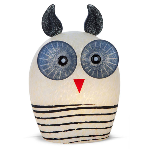 White and Blue Glass Owl Lamp