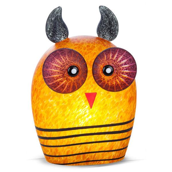 Amber Owl Glass Lamp