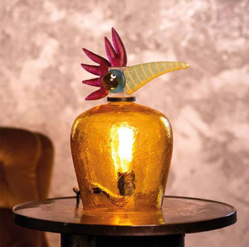 Orange, Pink, and Green Glass Bird Lamp