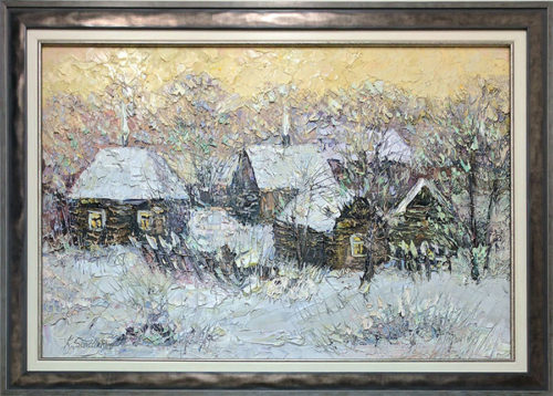 """Winter in the Village"" by Konstantin Savchenko at Art Leaders Gallery, voted ""Michigan's Best Fine Art Gallery"" is located in the heart of West Bloomfield. This full service fine art gallery is the destination for all your art and custom picture framing needs. Our extensive inventory of art includes styles ranging from contemporary to traditional. The gallery represents international, national, and emerging new talent as well as local Michigan artists."