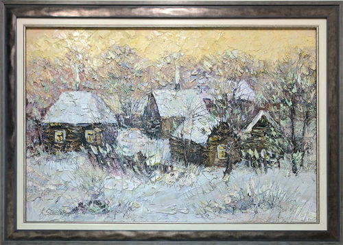 Winter in the Village by Konstantin Savchenko