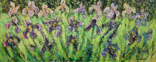 """Sunny Irises"" by Konstantin Savchenko at Art Leaders Gallery, voted ""Michigan's Best Fine Art Gallery"" is located in the heart of West Bloomfield. This full service fine art gallery is the destination for all your art and custom picture framing needs. Our extensive inventory of art includes styles ranging from contemporary to traditional. The gallery represents international, national, and emerging new talent as well as local Michigan artists."