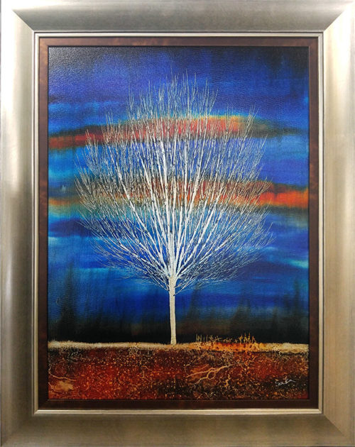 Silent Grove in Midnight Blue by Nakisa Seika, Framed